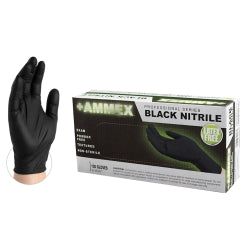 Ammex Black Nitrile Pf Exam Gloves, Medium