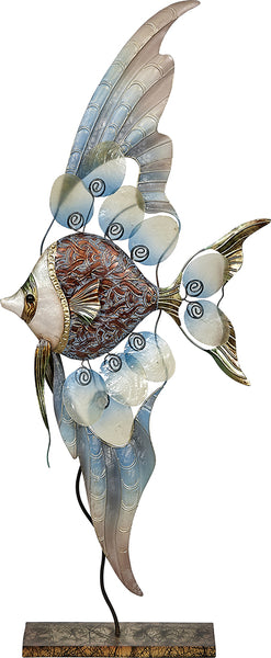 Metal & Capiz Large Banner Fish Statue On Stand 12x28""