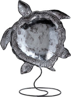 "Metal And Capiz Turtle Figurine On Stand 9x12"", White Elegance Collection"