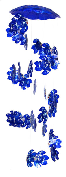 Blue Fish Spiral Capiz Wind Chime 24""