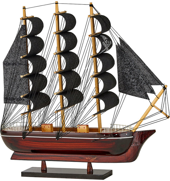 "Wooden Pirate Ship Model 12"" Black Sails (ship Is Assembled)"
