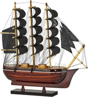 "Wooden Pirate Ship Model 10"" Black Sails (ship Is Assembled)"