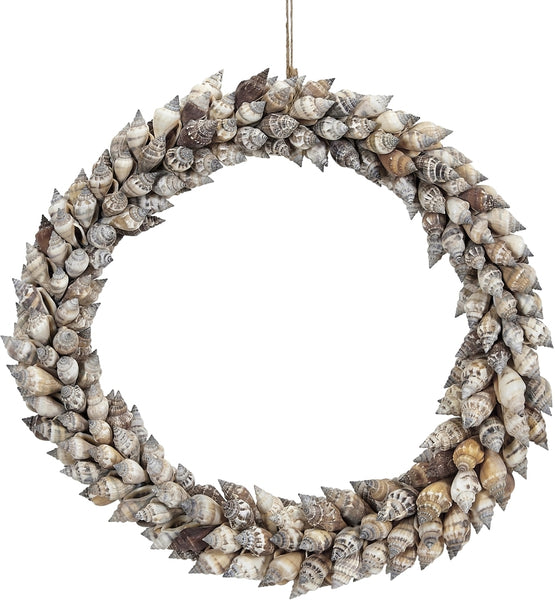 Brown Chula Seashell Coastal Wreath 10""