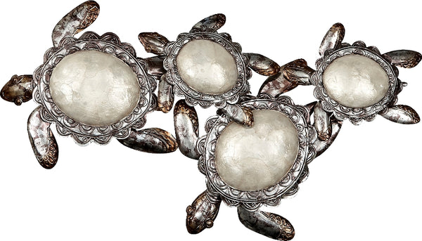 "Four Capiz And Metal Turtles Wall Decor 13x26"", White Elegance Collection"