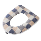 2 Pcs Winter Plush Toilet Seat Cover Pad Toilet Seat Cushion Mat Toilet Seat Warmer,blue Checkered