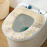2 Pcs Brown Flowers Toilet Seat Cover Pad Winter Toilet Seat Cushion Mat Toilet Bathroom Warmer