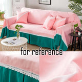 Lace Sofa Cover Two-tone Sofa Towel Modern Love Seat Sofa Slipcover Couch Cover, Pink Green