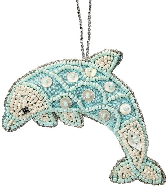 6 Dolphin Blue Mother Of Pearl & Beads Nautical Christmas Tree Ornaments (set Of 6)
