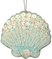 6 Scallop Blue Mother Of Pearl & Beads Nautical Christmas Tree Ornaments (set Of 6)