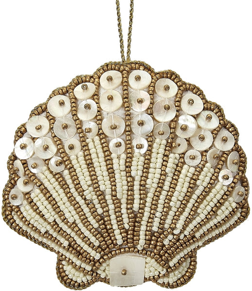 6 Scallop Gold Mother Of Pearl & Beads Nautical Christmas Tree Ornaments (set Of 6)