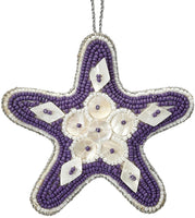 6 Starfish Purple Mother Of Pearl & Beads Nautical Christmas Tree Ornaments (set Of 6)