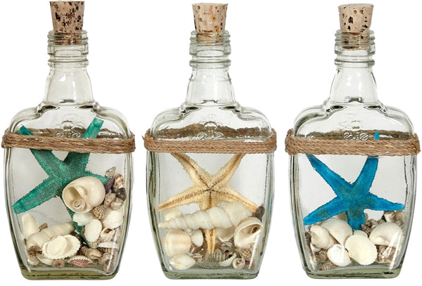 "Assorted Colored Starfish & Shells In Bottle 6.5"", Nautical Themed Home Dcor (set Of 2)"