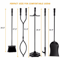5 PCS Hearth Tool Fireplace Set Fire Tools Set