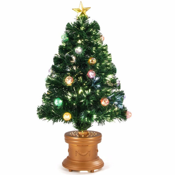 3Ft Pre Lit Fiber Optical Firework Christmas Tree