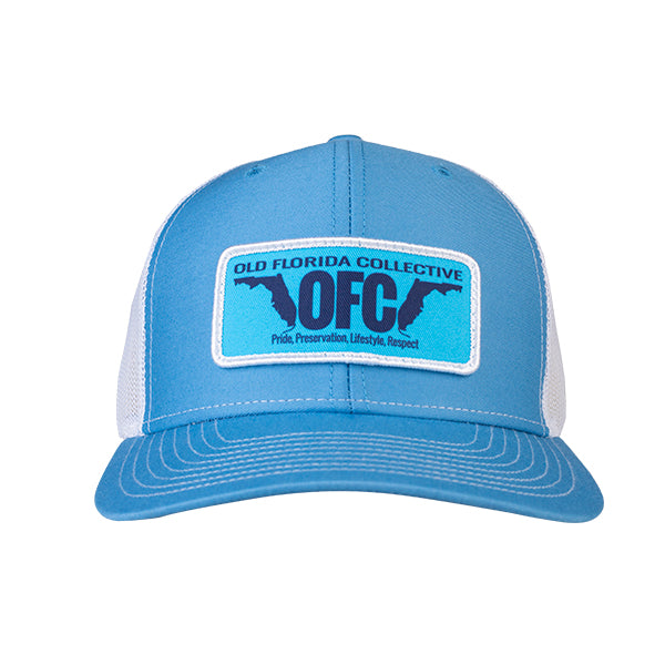 Columbia Blue/White With OFC Florida Horns Patch Trucker Hat
