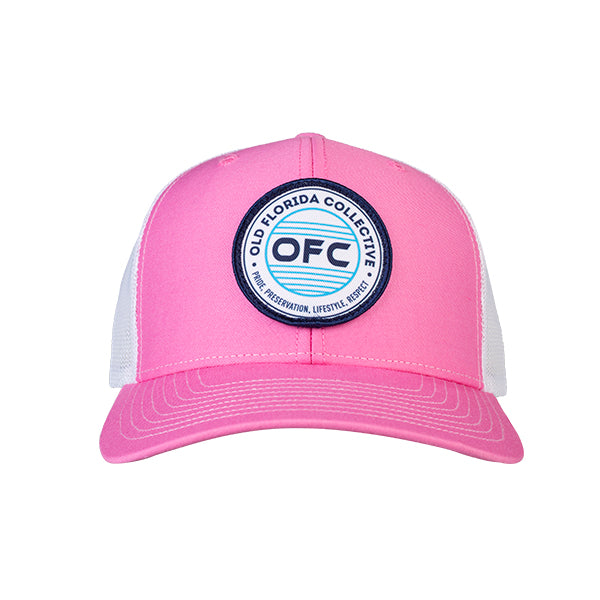 Pink/White With OFC Logo Patch Trucker Snapback Hat