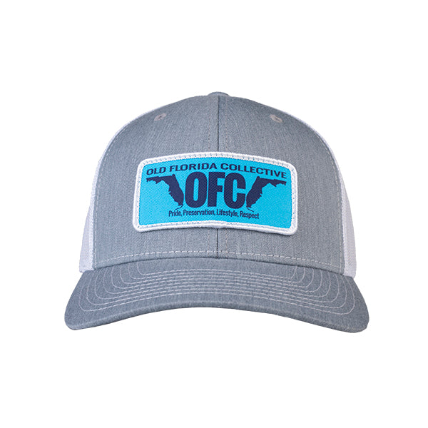 Heather Grey/White With OFC Florida Horns Patch Trucker Hat