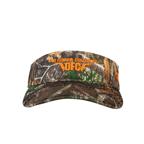 Realtree Edge Camo/Orange With OFC Florida Horns Logo Visor