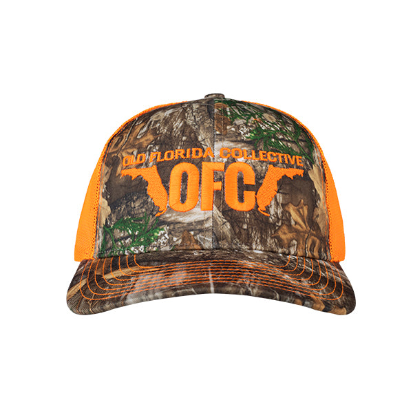 Realtree Camo/Orange With OFC Florida Horns Logo Trucker Snapback Hat