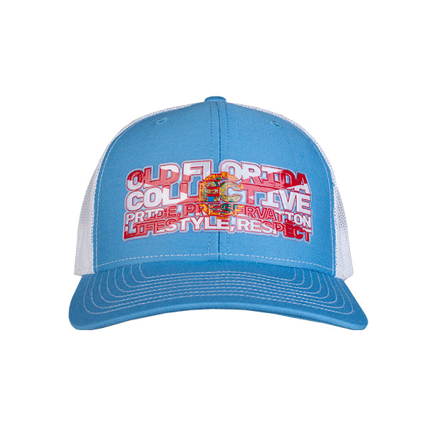 Columbia Blue/White With Old Florida Collective Tribute Trucker Hat