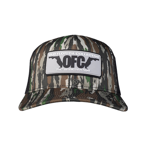 Realtree Original Camo/Black With Rubber OFC Florida Horns Trucker Hat