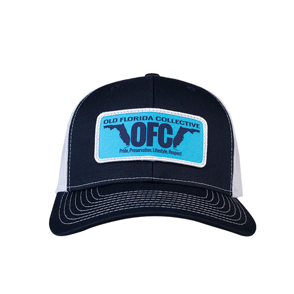 Navy/White With OFC Florida Horns Patch Trucker Hat