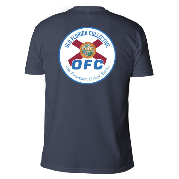 Men's Indigo Blue Short Sleeve With Blue Florida Flag Logo