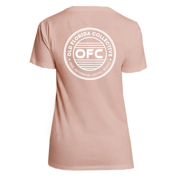 WOMENS DESERT ROSE OFC LOGO RELAXED V NECK TEE