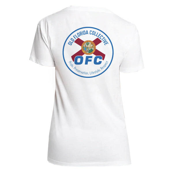 WOMENS WHITE FLORIDA FLAG RELAXED V NECK TEE