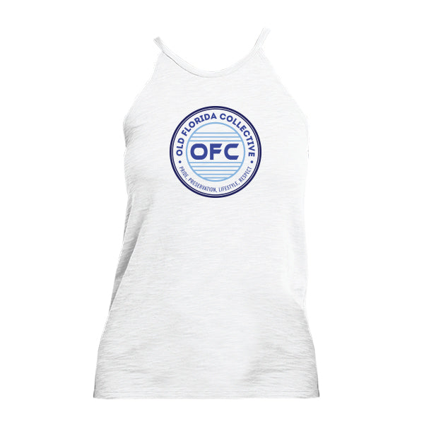 WOMENS WHITE WITH MULTI BLUE OFC LOGO TANK