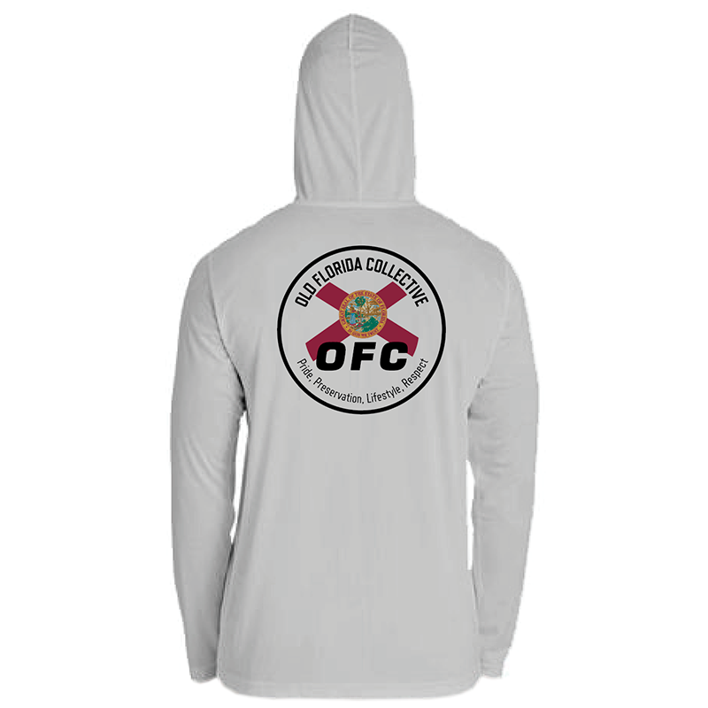 Men's Performance Silver Long Sleeve Hooded With FLA Flag Logo