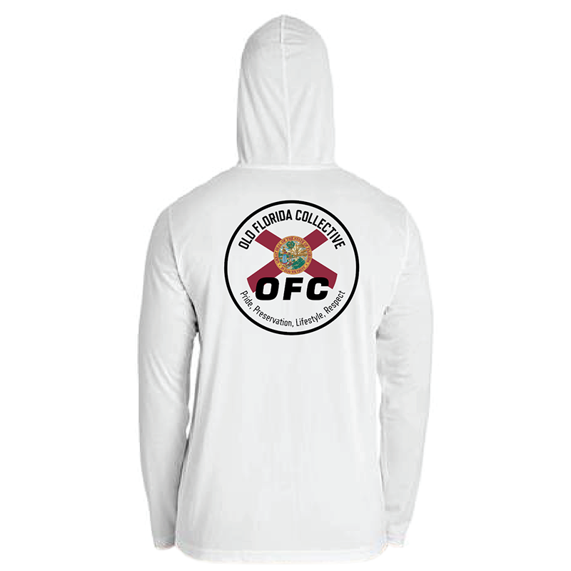 Men's Performance White Long Sleeve Hooded With Florida Flag Logo