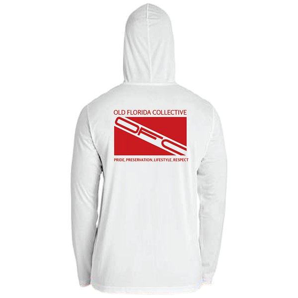 Men's Performance Long Sleeve Hooded With Red Dive Flag and FLA PROUD Sleeve