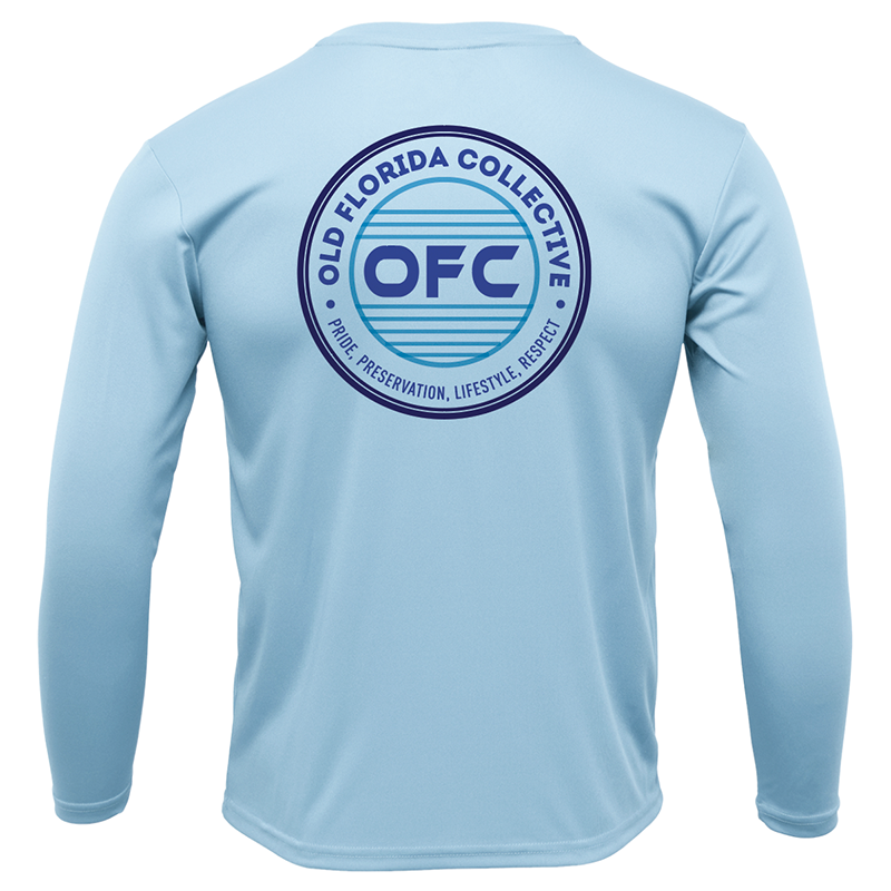 Men's Performance Ice Blue Long Sleeve With Blue OFC Logo