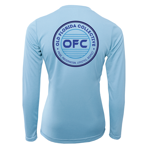 Women's Performance Ice Blue Long Sleeve With Multi Blue OFC Logo