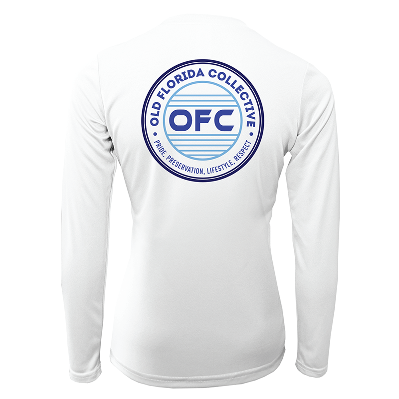 Women's Performance White Long Sleeve With Multi Blue OFC Logo