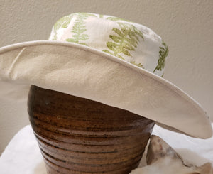 Handmade and hand printed Sunhat, Scattered Ferns, reversible. washable, and packable