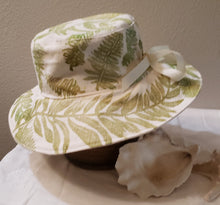 Load image into Gallery viewer, Handmade and hand printed Sunhat, Scattered Ferns, reversible. washable, and packable