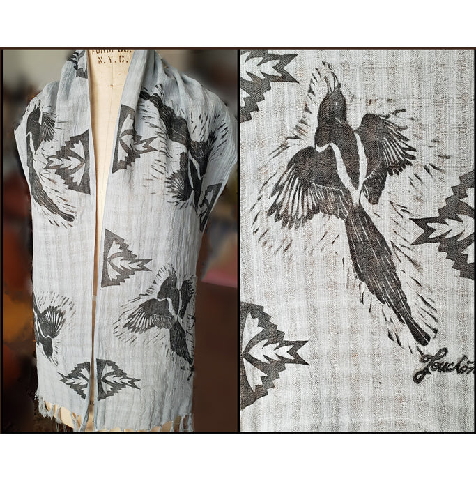 Gray hand dyed cotton scarf with flying magpie and geometric pattern repeat, for sale by Ouida Touchon