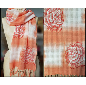 all cotton handwoven scarf with peach shibori dye and a rose in full bloom design for sale by Ouida Touchon