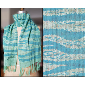 sea green hand dyed and hand printed scarf of 100% cotton for sale by Ouida Touchon