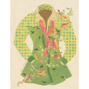 original woodcut print of Audubon's Girlfriend vs. 2, on Okawara Japanese paper. For sale by artist, Ouida Touchon