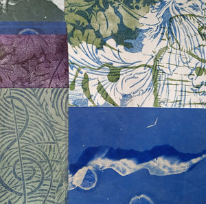 New work on paper, Blue Concerto l, collaged papers on base sheet of acid free paper, for sale by Ouida Touchon