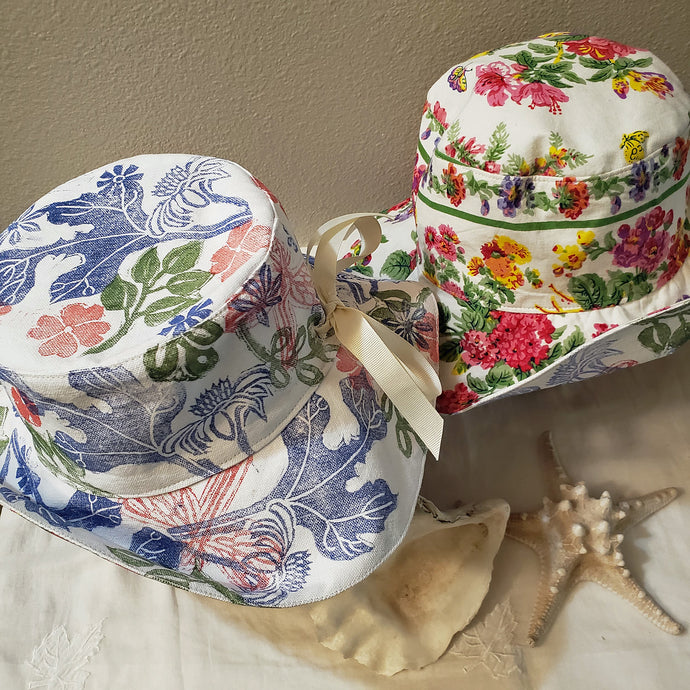 Handmade and hand printed Sunhat, Garden Party, reversible. washable, and packable, handmade by Ouida Touchon, for sale, limited edition.