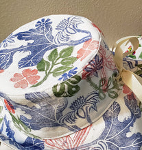 Load image into Gallery viewer, Handmade and hand printed Sunhat, Garden Party, reversible. washable, and packable