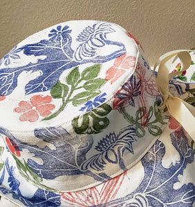 Handmade and hand printed Sunhat, Garden Party, reversible. washable, and packable