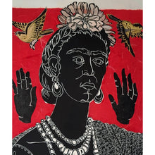 Load image into Gallery viewer, Frida l, a handprinted portrait of Frida Kahlo with songbirds and praying hands. One of a kind, available for purchase by Ouida Touchon