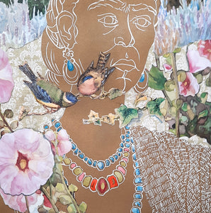 detail of Frida's Garden, linocut with gold ink and collage and hand coloring, for sale by Ouida Touchon