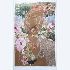 Frida's Garden, linocut with gold ink and collage and hand coloring, for sale by Ouida Touchon