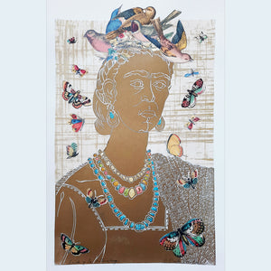 Frida y la Naturaleza, original artwork hand printed in gold ink, with songbirds and butterflies, for sale by Ouida Touchon